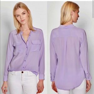 Equipment Pastel Lavender Signature Silk Shirt S